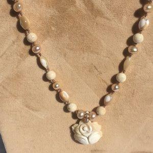 Bone flower necklace